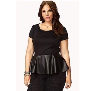 Forever 21 Romantic Faux Leather Peplum Top